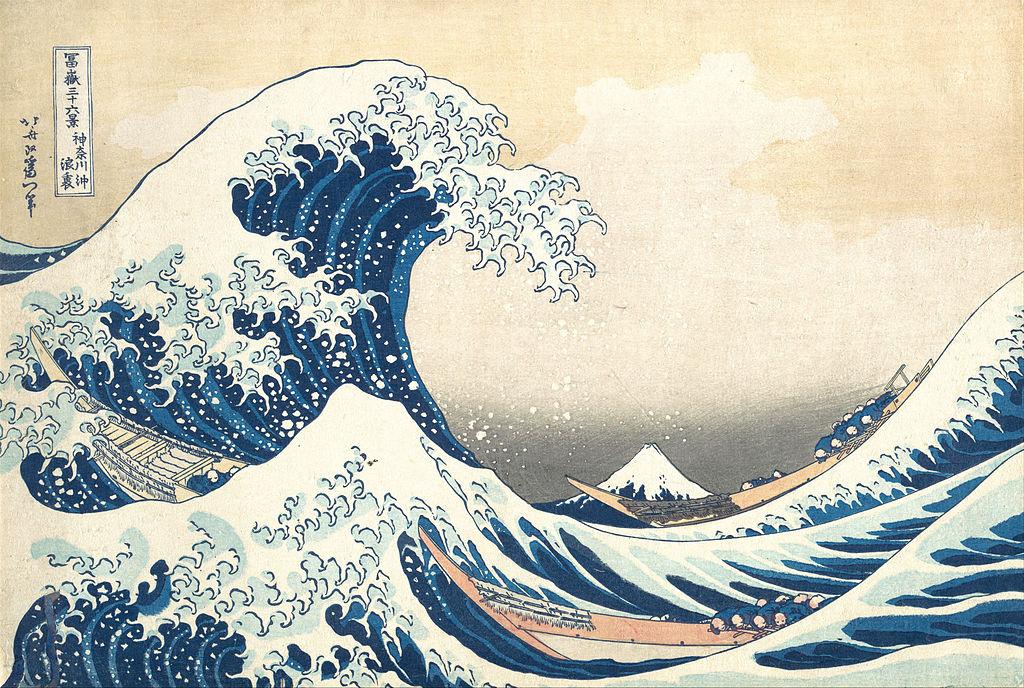 Woodblock print The Great Wave by Katsushika Hokusai