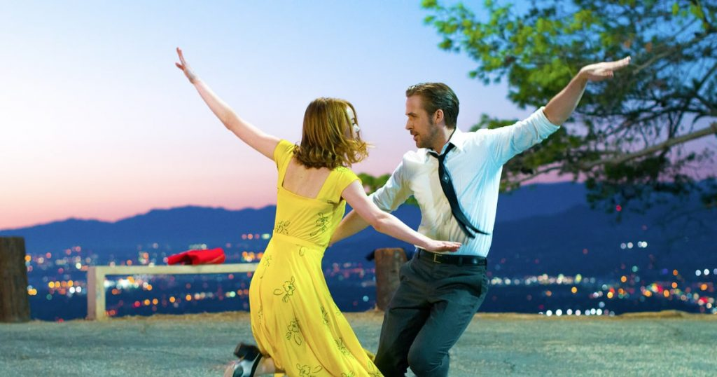 "Emma Stone and Ryan Gosling as Mia and Sebastian in ""La La Land"""