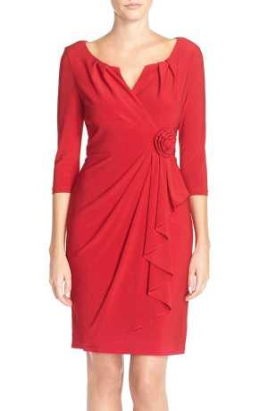 Adrianna Papell Pleat Jersey Sheath Dress
