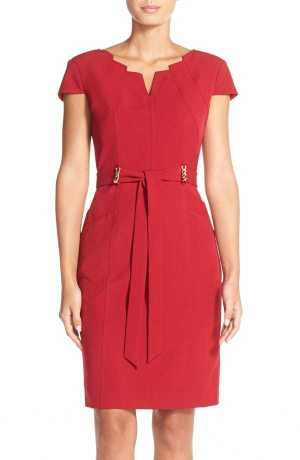 Ellen Tracy Belted Stretch Sheath Dress