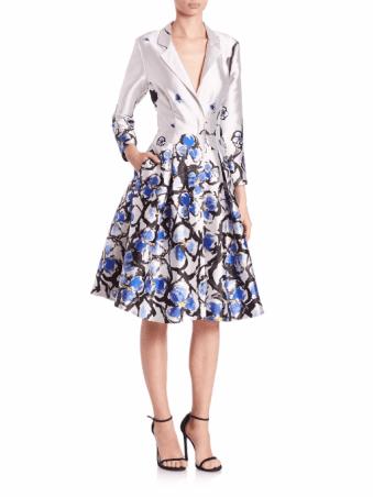 Sachin & Babi Noir Flower-Print Coat Dress