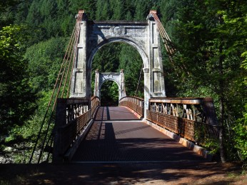 The old Alexandra Bridge crossing the Fraser River in B.C. on the traditional unceded land of the Nlaka'pamux Nation.