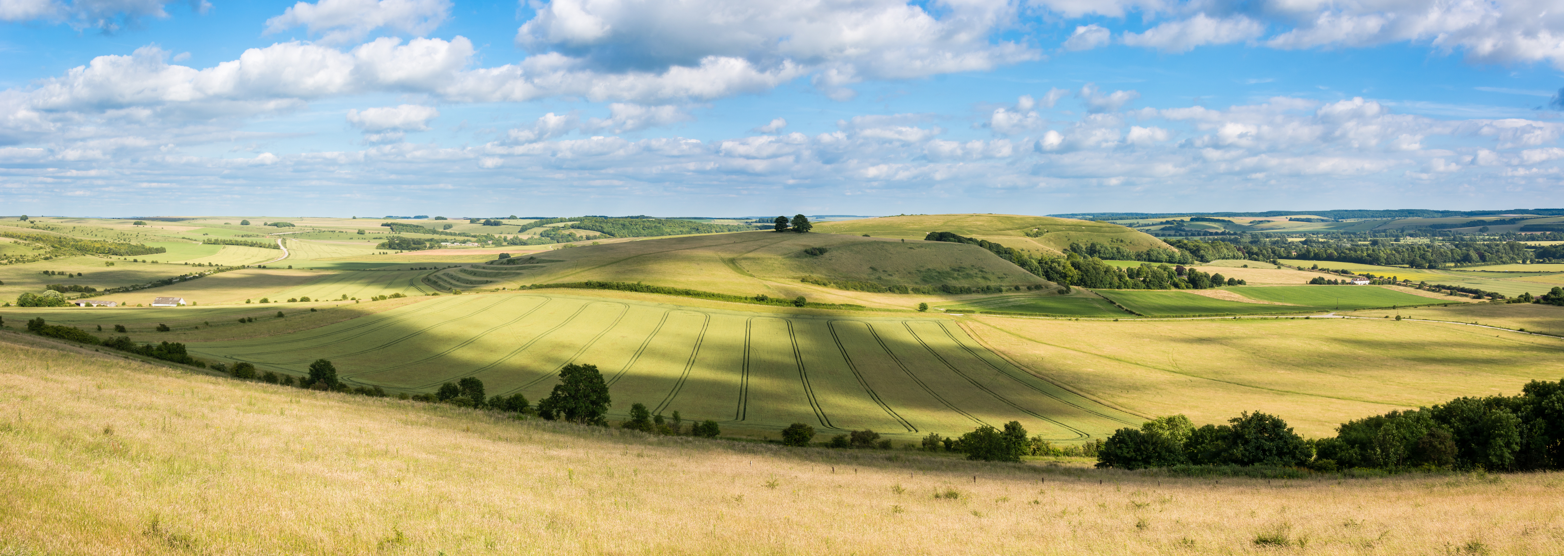 View from Battlesbury Hill, with medieval strip lynchets on the edge of Salisbury Plain, in Wiltshire, UK