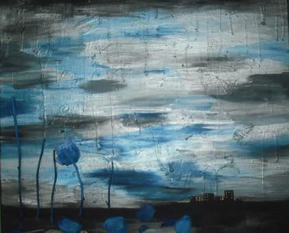 silver blue skyline Commission