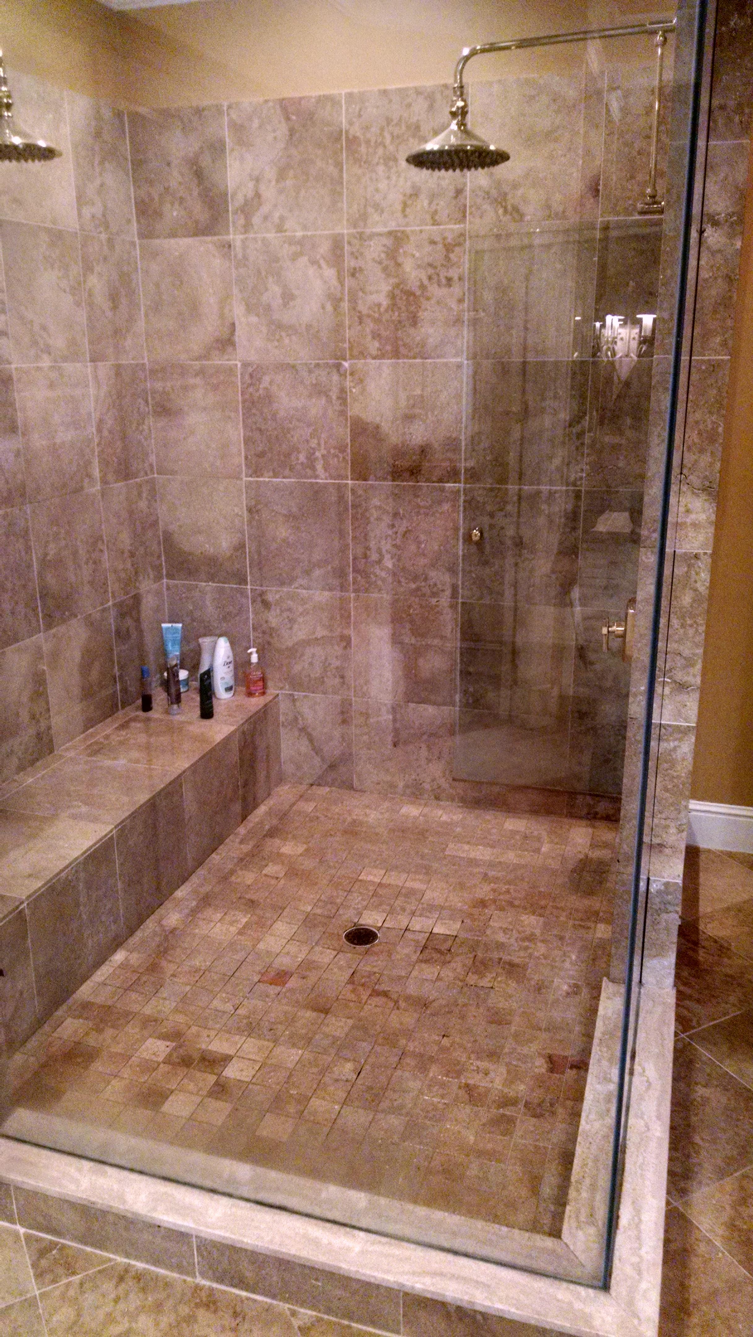 travertine tile grout restoration in