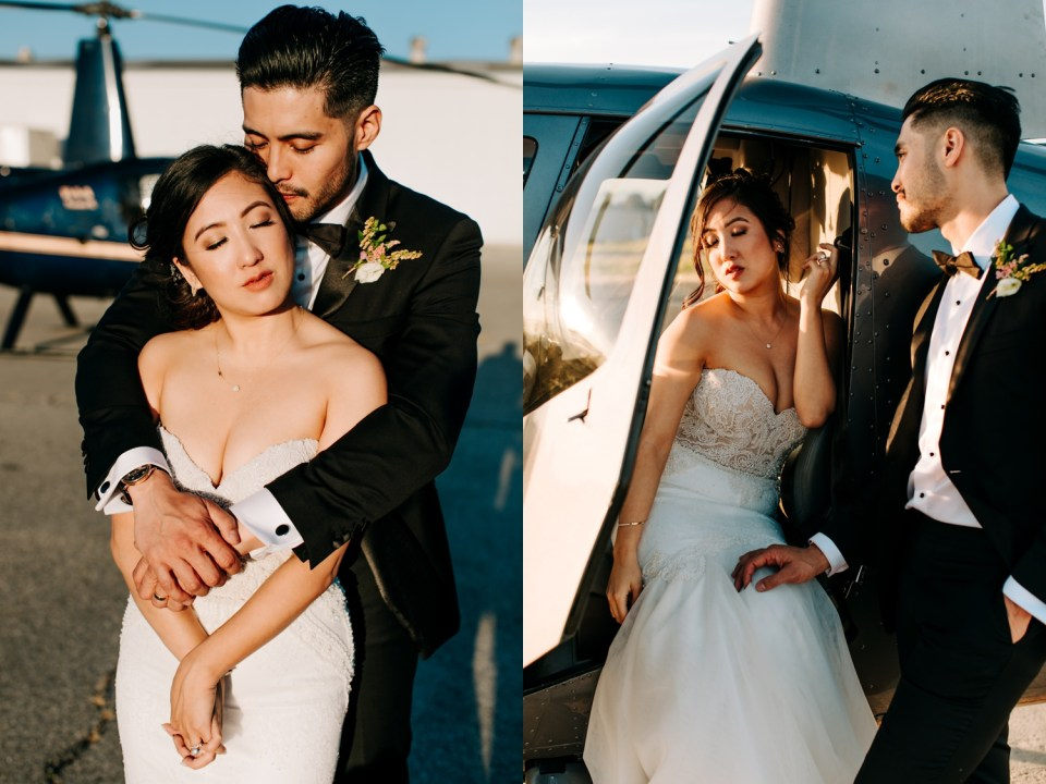 wedding portraits at Hangar 21 South woith helicopter