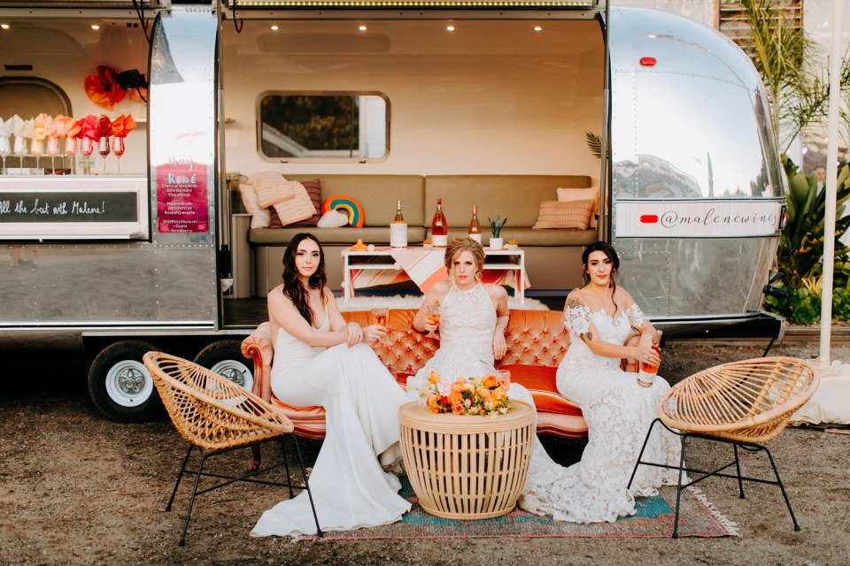 wine airstream for weddings
