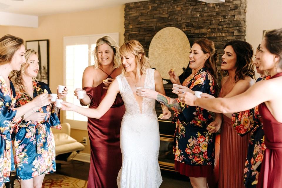 brides getting ready for their wedding in California