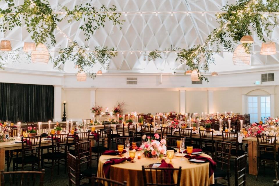 moody bohemian orange, peach, burgundy and pink wedding design