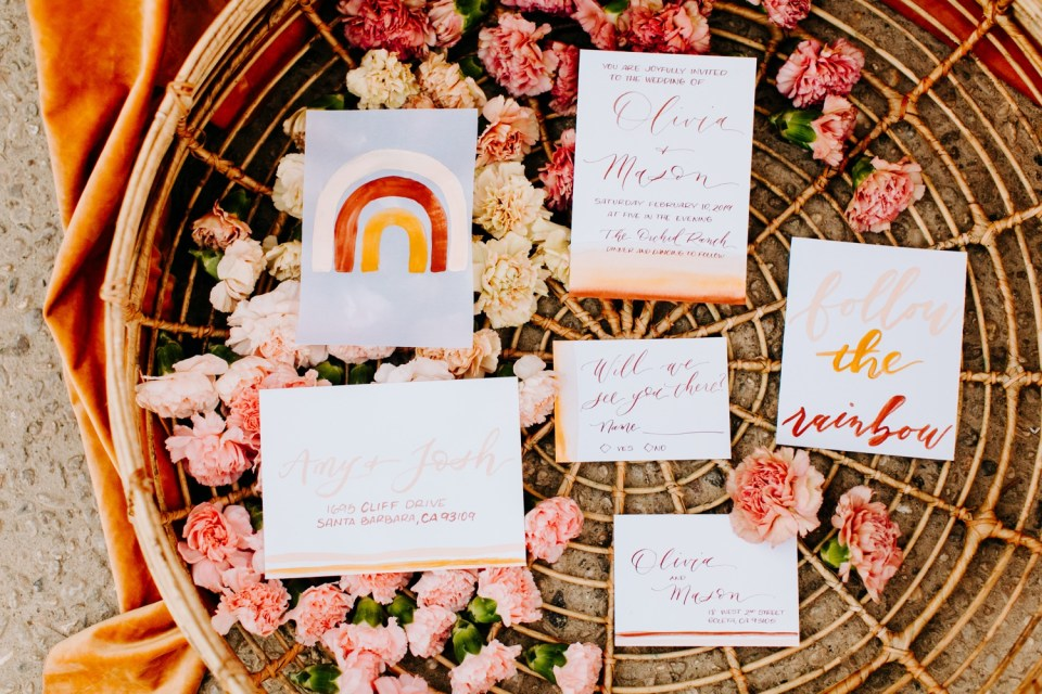 bohemian rainbow watercolor wedding bohemian rainbow watercolor wedding invitations