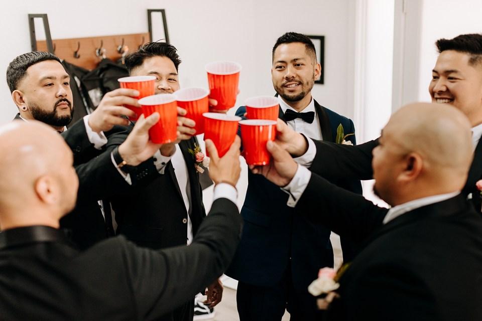 wedding party getting ready