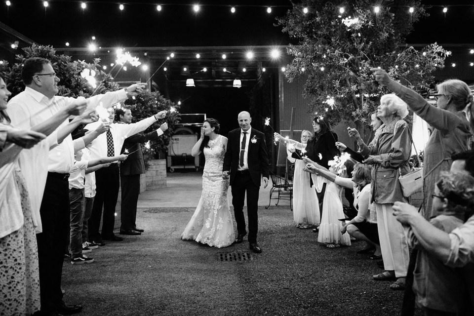 sparkler exit at micro wedding in santa barbara