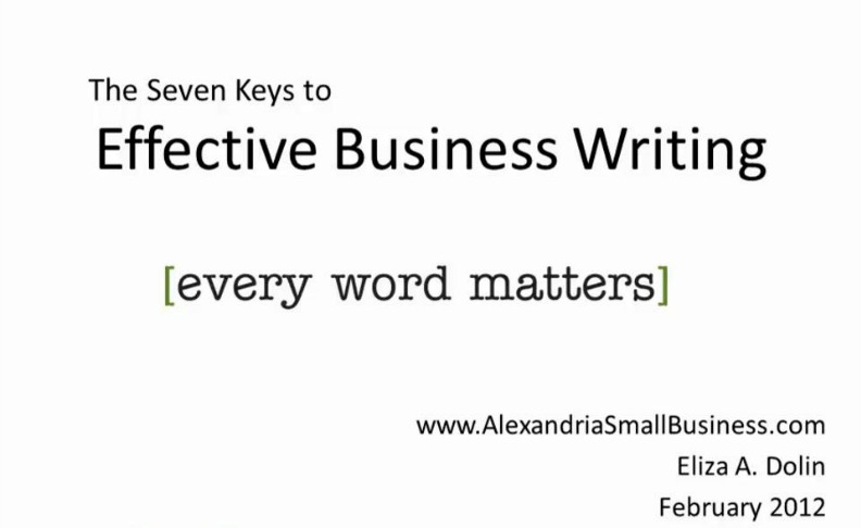 Effective Business Writing by Eliza Dolin of Ivy Quill Communications