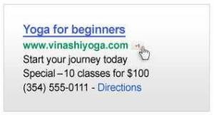 Google AdWords sample ad