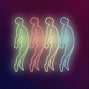 The album art for False Memories by Heavenly Faded shows four human figures in colorful neon lights.