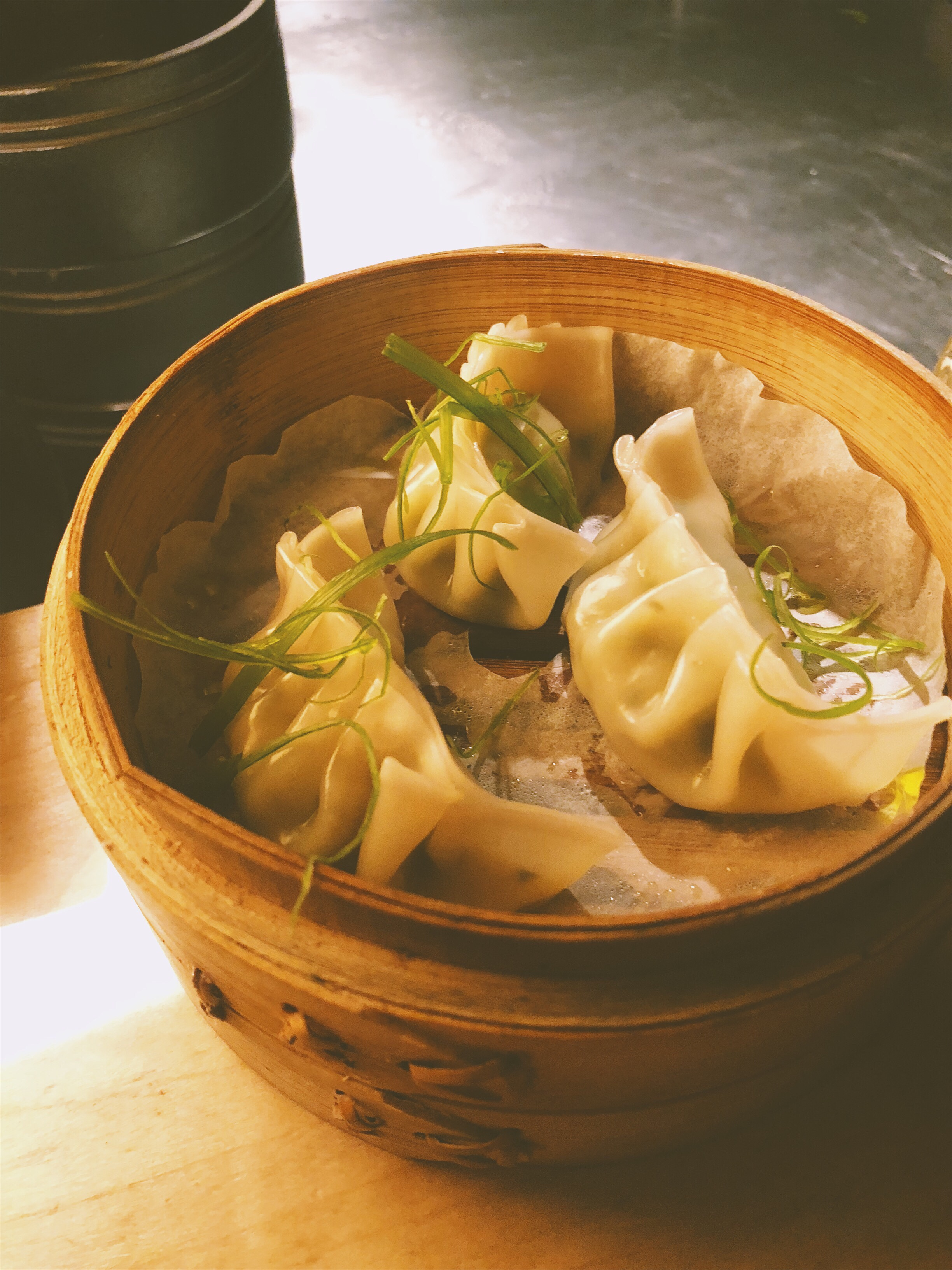 Shrimp and pea shoot dumplings