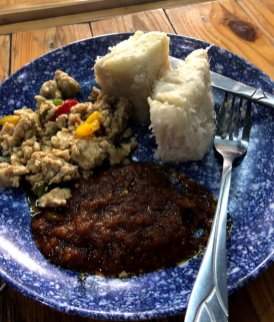 Breakfast: spicy eggs, beans, and yam.