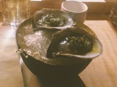 Oysters with ponzu, I think?