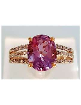 9ct-Gold-Amethyst-with-Diamonds-Ring