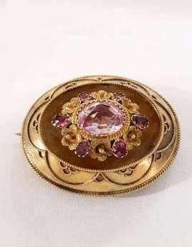 Rose quartz brooch antique gold