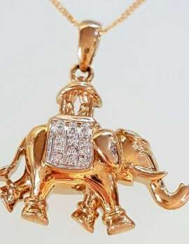 9ct Gold and Diamond Elephant Necklace