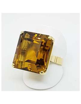 cognac citirne square gold ring ring