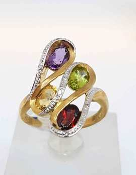 9ct Gold ring with 4 precious stones
