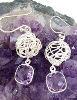 Sterling Silver Square Amethyst Drop Earrings