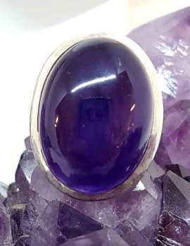 Oval Amethyst Ring Cabochon cut - Sterling silver