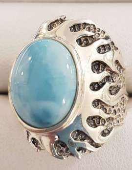 Larimar and sterling silver ring