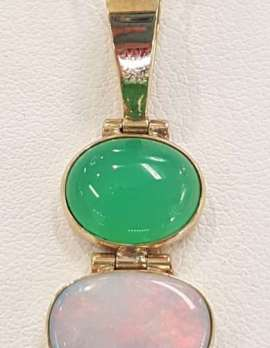 White Opal and jade pendant