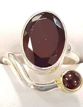 Sterling Silver Garnet Ring with Gold Plated Embellishment