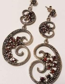Sterling Silver Large Chandelier Drop Garnet and Marcasite Earrings