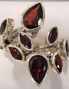 Sterling Silver Garnets Ring - Leaf Design