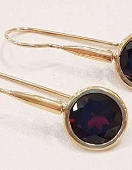 9ct Gold Round Garnet Long Drop Earrings