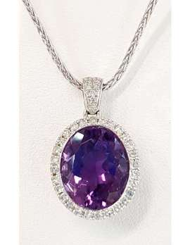 White gold necklace with large oval amethyst and diamonds