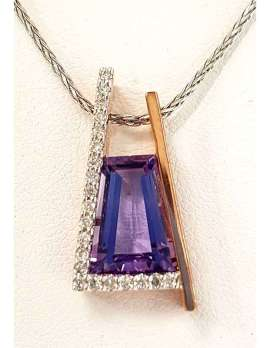 Rectangular faceted amethyst necklace on a gold chain