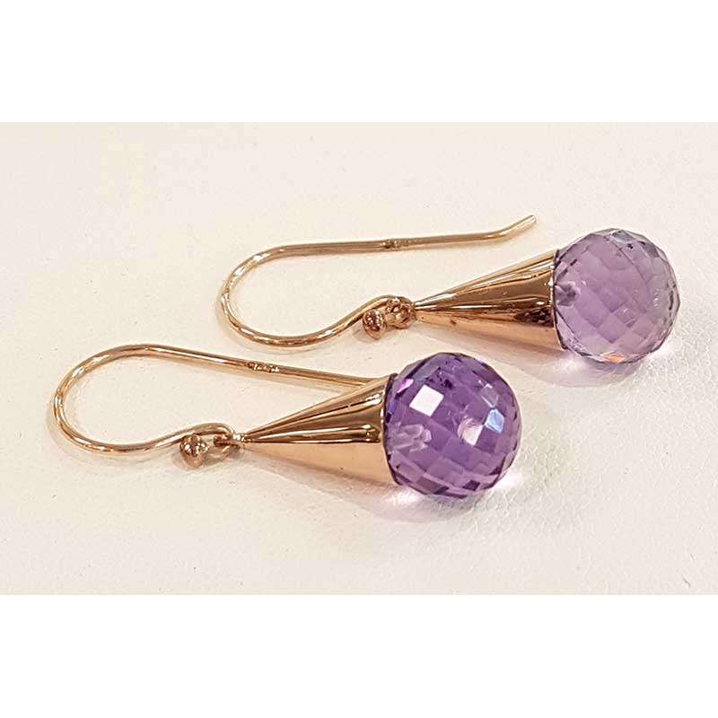 faceted ball amethyst gold earrings