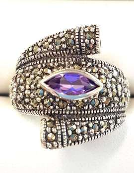Amethyst and Marcasite Sterling silver ring