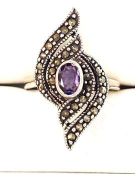 Oval Amethyst and Marcasite Sterling silver ring