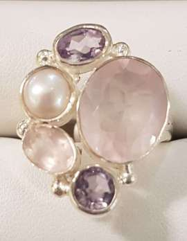 rose-quartz, amethyst and pearl gold ring