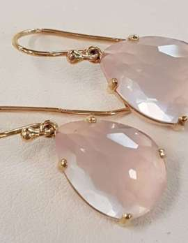 rose-quartz and gold drop earrings
