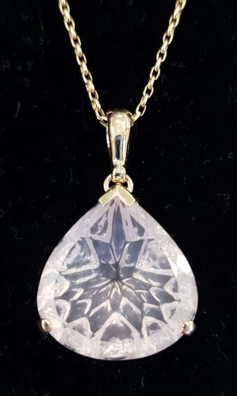 Rose Quartz, Gold Pendant necklace