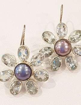 Sterling Silver Green Amethyst and Pearl Flower Earrings