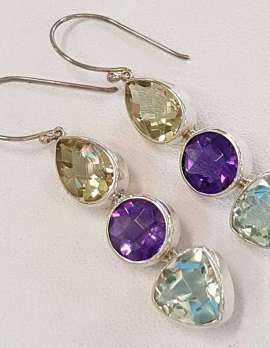 Sterling Silver Green Amethyst and Citrine Earrings