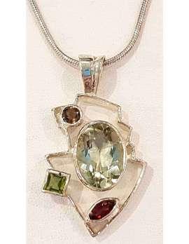 Sterling Silver Green Amethyst, Peridot, Garnet and Smokey Quartz Pendant Chain