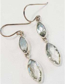 Sterling Silver Green Amethyst Earrings - Long Drop Marquis Shape