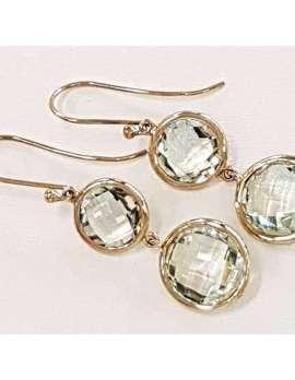 9ct Gold Green Amethyst Earrings - Long Drop