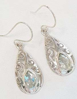 Sterling Silver Green Amethyst / Prasiolite Filigree Drop Earrings