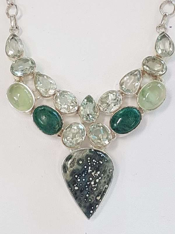 Sterling Silver Green Amethyst , Prehonite etc. Large Cluster Necklace